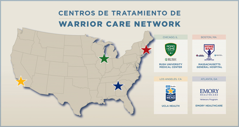 Mapa de centros de tratamiento de Warrior Care Network